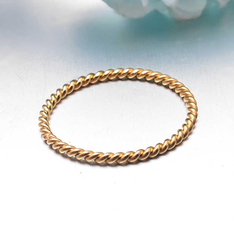 Fashion Wanita Kecil Cincin Perak Warna Rose Gold Twisted Stainless Steel Cincin untuk Wanita Pesta Pernikahan