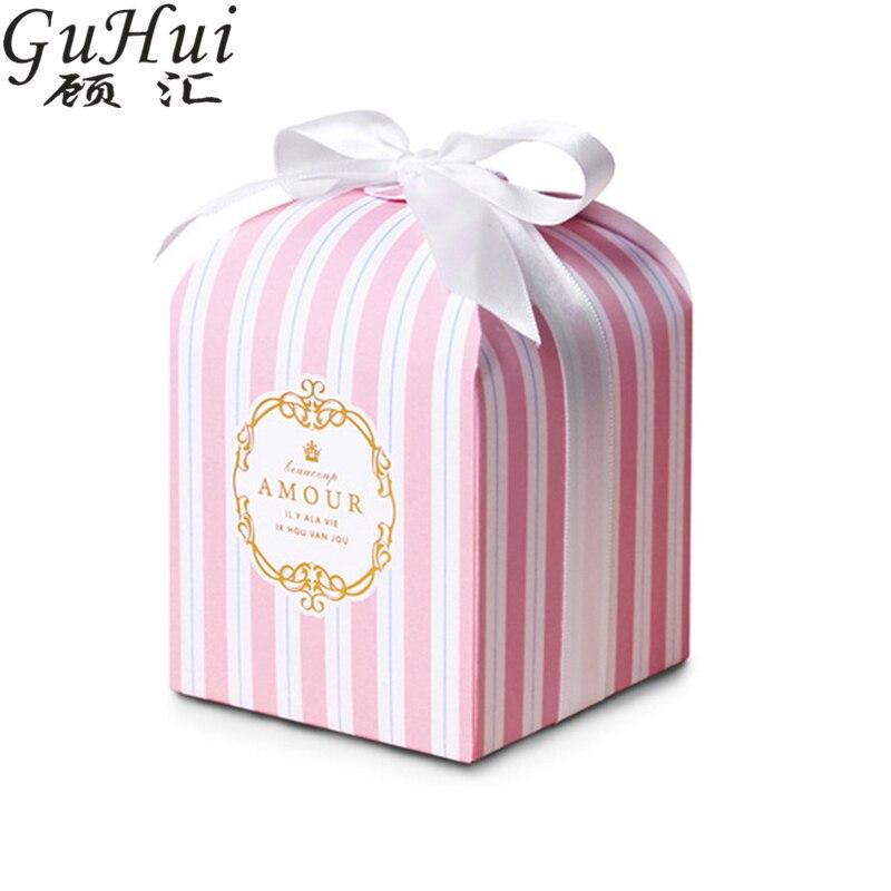 20pcs European High End Wedding Favor Gift Gold Stamp Pink Stripe