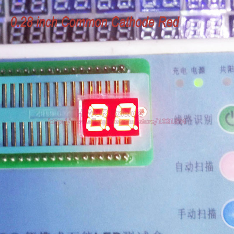 (10pcs/lot) 10 Pins 2821AR 0.28 Inch 2 Digits Bits 7 Segment Red LED Display Common Cathode Digital Display Pin2 5 Common Pin