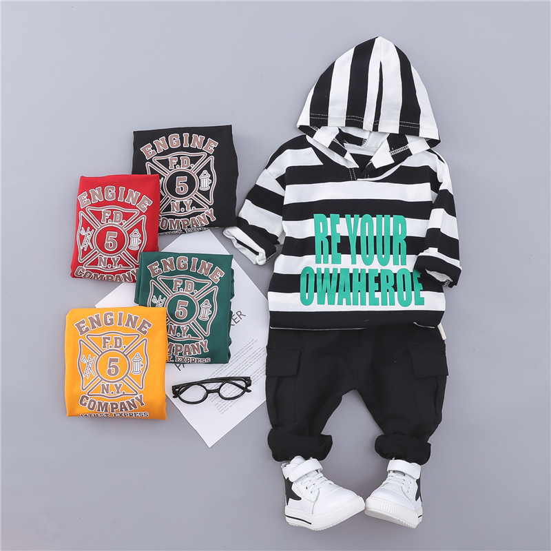 Summer Autumn Striped Hooded Short Sleeve Jacket with Letter Vest + Solid Pants Fashion 3Pcs Set for Boys Baby Children striped letter sheet set