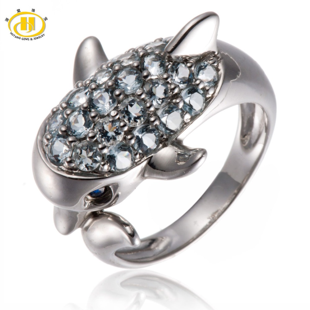Hutang Natural Aquamarine & Sapphire Gemstone Rings Solid 925 Sterling Silver Dolphin Ring Fine Jewelry For Women's Party Gift