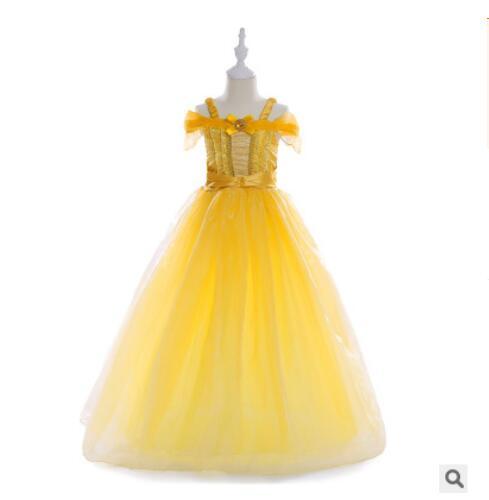 Belle Princess Tutu Dress Baby Kids Fancy Party Christmas Halloween Costumes Beauty Beast Cosplay Dress Flowers Girls Ball Gown стоимость
