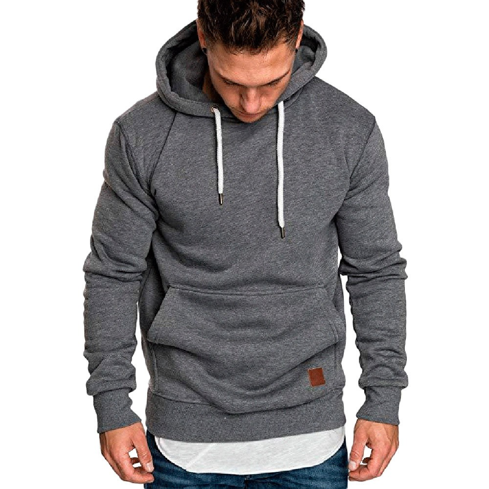 Sweatshirt Men Solid Hoodie Long-Sleeve Poleron Black Male Big-Size Brand Red -0301 25