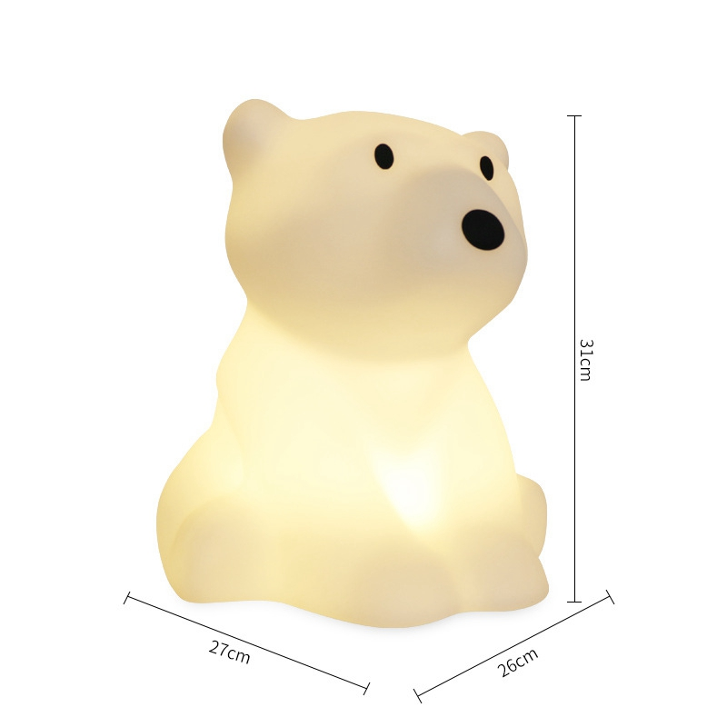 Polar Bear LED Night Light Swivel Dimmable Novel Gift for Kids Sleeping Warm White Baby Lamp Silicone Indoor Decoration Light - 5