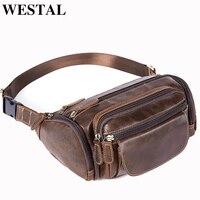 WESTAL Men's Bags Belt Leather Waist Packs Travel Fanny Pack Belt Bag Waist Bags Male Leather Pouch Shoulder Messenger bag men