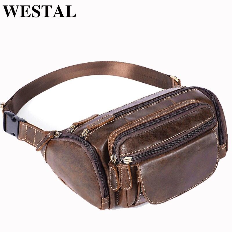 Bolsas de Cintura de Couro Pacotes de Cintura de Viagem Bolsas de Cintura Westal Masculino Cinto Fanny Pacote Couro Ombro Mensageiro Bolsa 8355