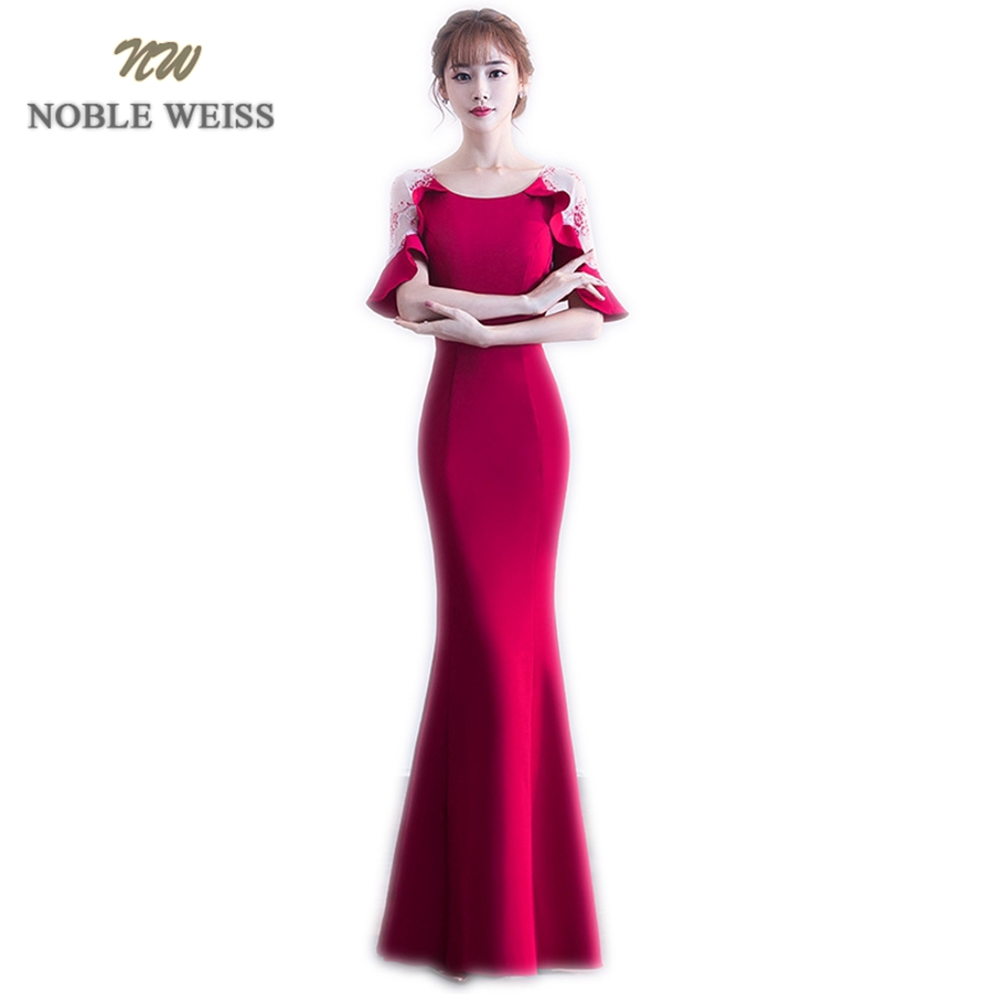 NOBLE WEISS Sexy   Prom     Dress   Satin Fashion O-Neck Zipper Back Cheap Floor Length Party Gown   Dresses   With Short Sleeves