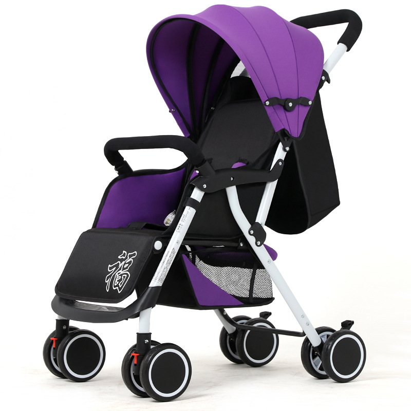 Four Wheels Stroller Baby Stroller Reclining Lightweight Folding Shock Absorbering Portable Two-way Push Cart For Four Seasons Use Travel For Kids Highly Polished
