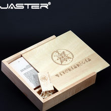 JASTER USB 2.0 photography wooden photo album usb + Box flash drive U disk 4GB 8GB 16GB 32GB 64GB Pen drive wedding gift(China)