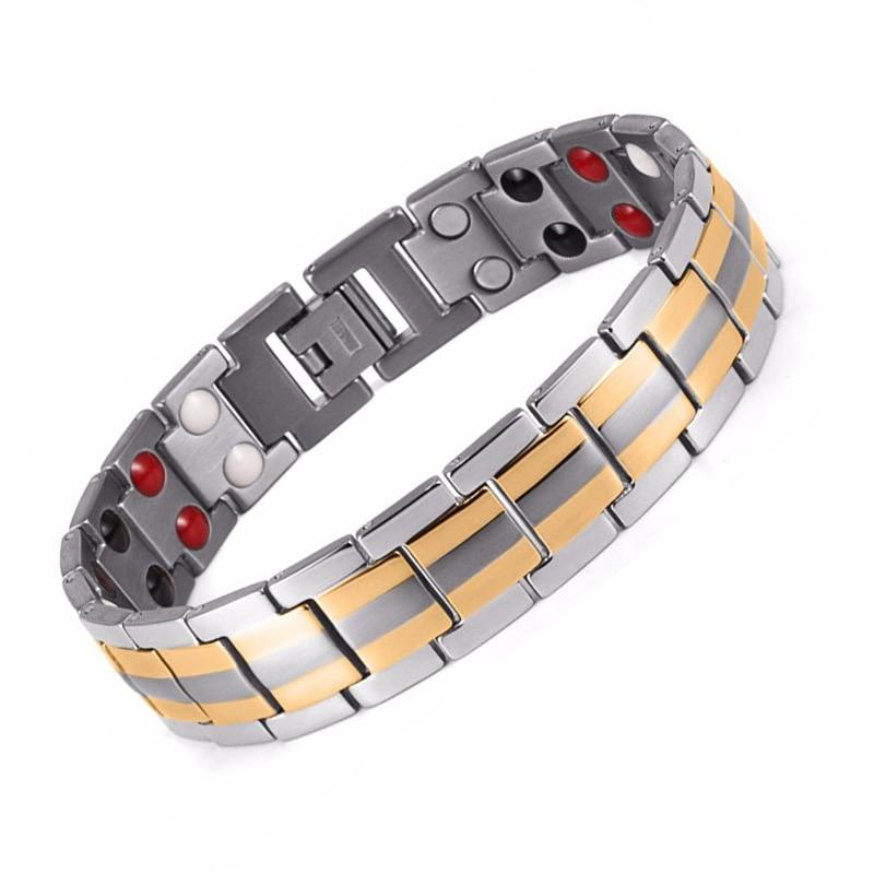 Здоровый магнит браслет Для мужчин Jewelry магнитотерапия био-энергии Браслеты пара позолота подарок на день рождения здоровья Герма