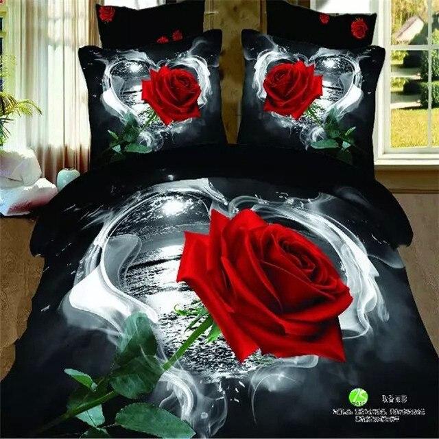 3d Rouge Rose Peinture A L Huile Noir Et Blanc Ensembles De Literie