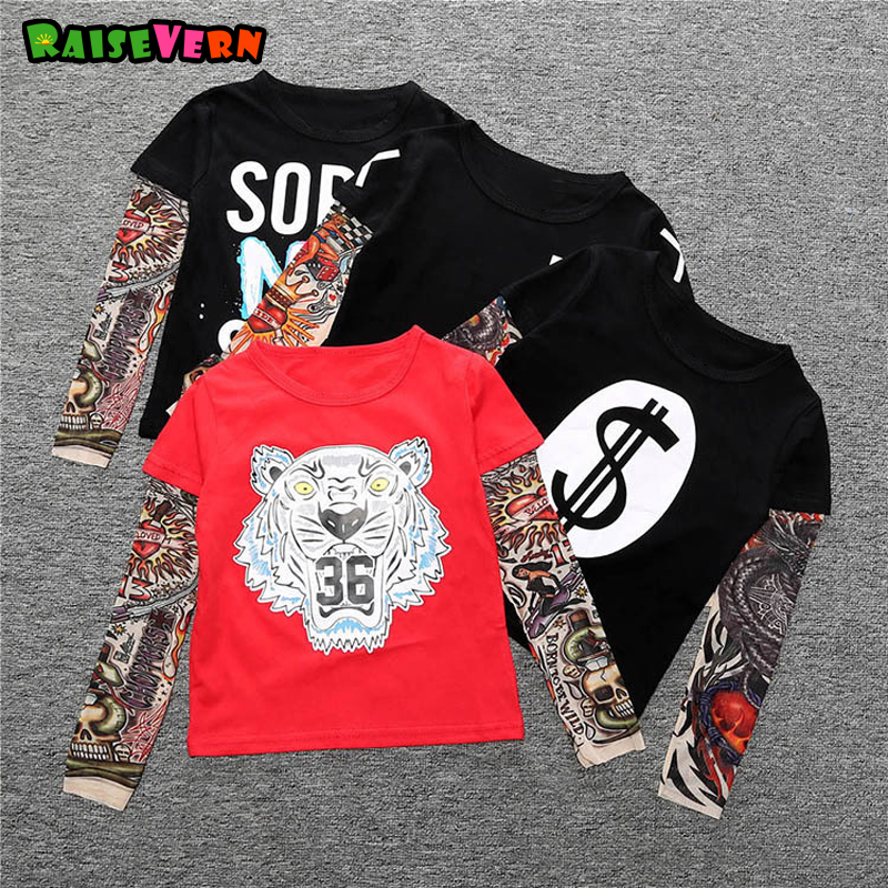 Fashion 1-6Y T-shirt Cotton Boys Girl Clothes Casual Tees Kid Funny Tattoo Print Long Sleeve Toddler Tiger Letters Tops mens casual 3d personality skull printing short sleeve t shirt cotton sport black tees