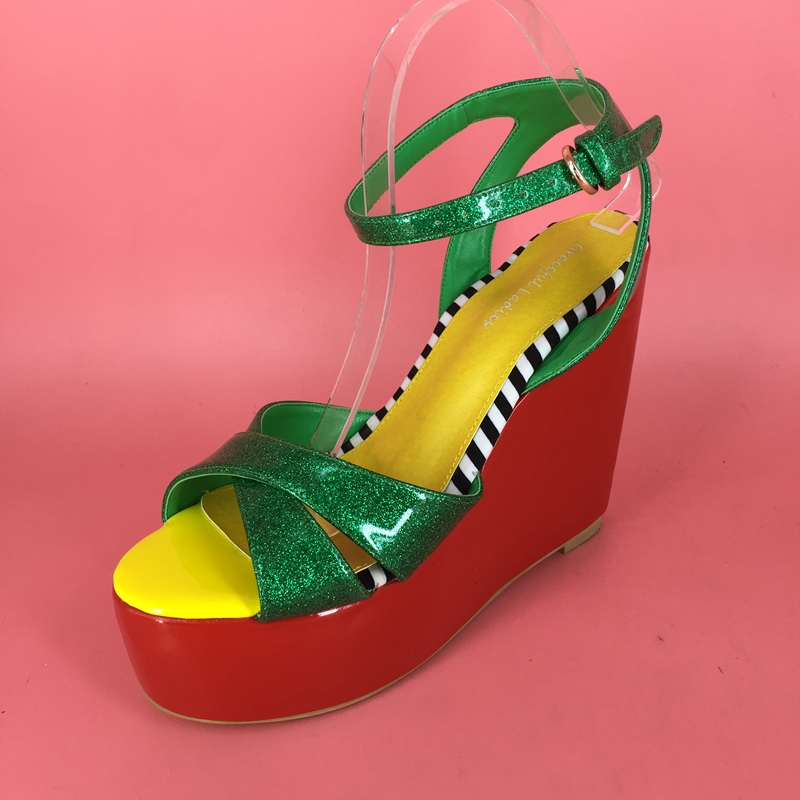 Green Pvc Women Sandals Wedge Heels Open Toe Wedges Shoes For Women High Heel Sandal For Woman Red Platform Ankle Strap criss cross colorblocked women velvet platform sandals red black green fashion mixed color ankle strap party sandals shoes woman