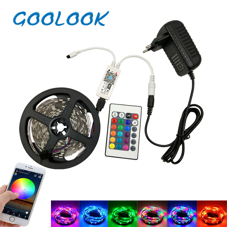LED Strip Light SMD 2835 RGB LED Tape 5M 10M LED Flexible Strip RGB light ribbon emitting Diode DC12V+ IR Controller Full Set