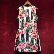Svoryxiu 2018 Fashion Runway Summer Tank Dress Women's Color Button Striped Rose Floral Print Vintage Party Short Dress