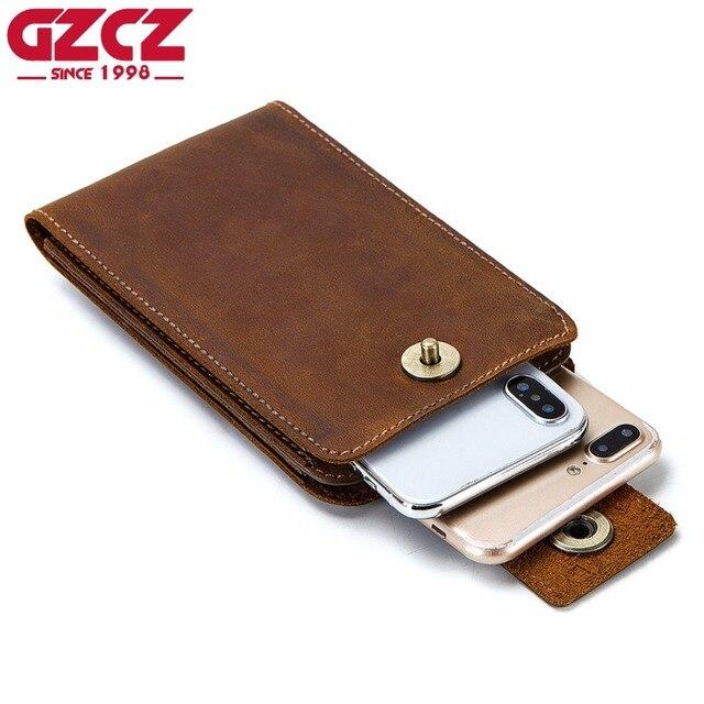 03fc68eaa481 GZCZ Phone Bag Genuine Crazy Horse Leather Men Women Clutch Wallets Fashion  Design Slim thin Hasp Design Wallet Card Holder