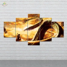 Anime Dragon Ball Golden Wall Art HD Prints Canvas Painting Modular Picture And Poster Home Decor 5 Pieces