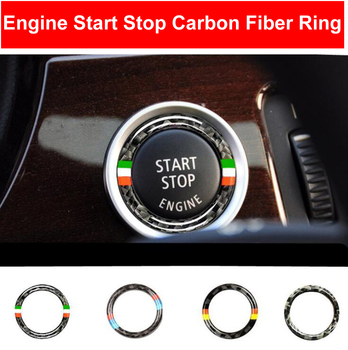 For BMW E90 E92 E93 Carbon Fiber Car Engine Start Stop Ring Trim M Sport Car Ignition Interior Key Ring 3 Series Car Accessories image