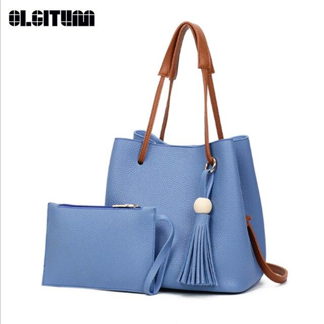 b192c37684 OLGITUM New Hot Women s Bag Shoulder Fashion bag Simple Wild Lady Bag  Messenger bag Set Pu Leather HB094