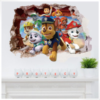 Decorative 3d Paw Patrol Wall Stickers Removable Self Adhesive Pvc Wall Decals Kids Room Baby Gift