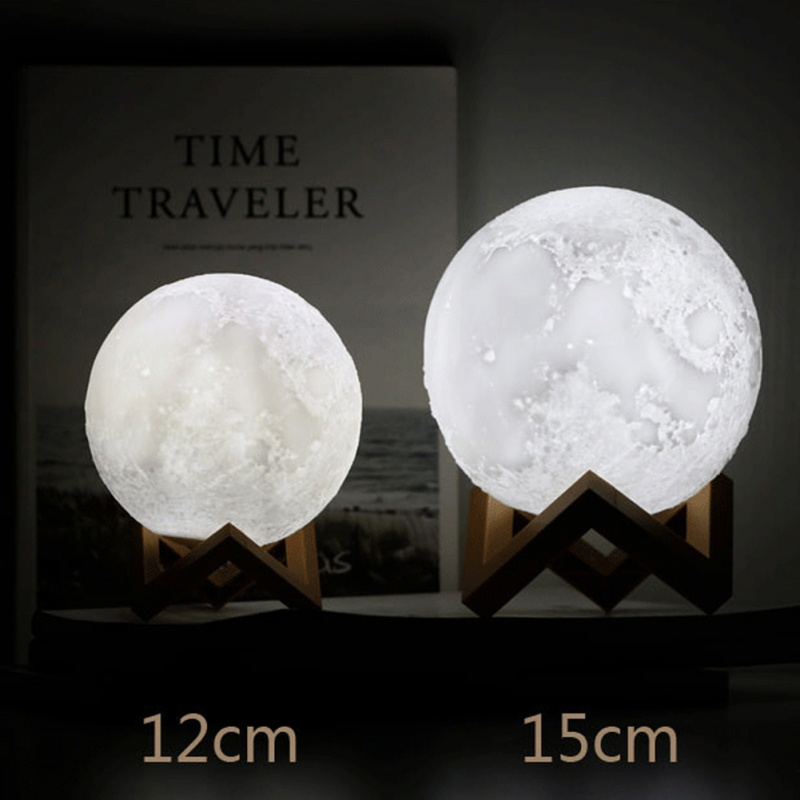 3D Print Moon Lamp 12-15CM Rechargeable 16 Color Remote Control Touch Switch Bedroom Bookcase Night Light Home Decor
