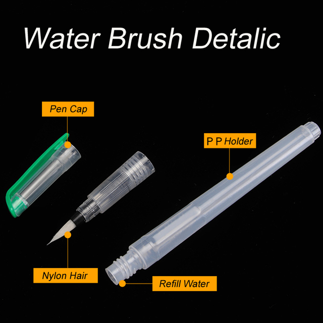 1/3/6Peices Refillable Paint Brush Water Color Brush Soft Watercolor Brush Ink Pen for Painting Calligraph Drawing Art Supplies 2