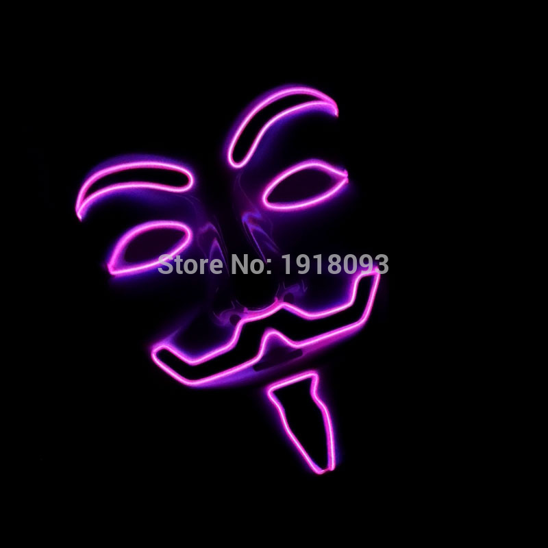 2017 New 10 Color Optional V for VENDETTA EL wire Vendetta Mask Fashion Classic Halloween Mask Light-up Toys Holiday Lighting