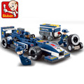 Compatiable con legeoe bloques huecos de 196 unids Ladrillos DIY chico camión juguetes Sluban F1 Racing car Series Envío Gratis