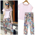 A generation 2015 summer new Korean comfort pink chiffon blouse + stamp Haren summer pants suit