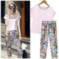 Una generación 2015 verano nuevo Coreano confort rosa blusa de la gasa + sello Haren pantalones de traje de verano