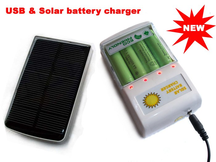 USB and Solar powered battery charger for AA or AAA