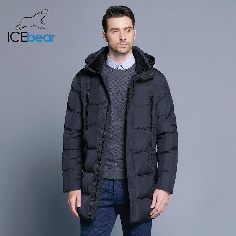 ICEbear 2018 Top Qualité Chaud Hommes de Chaud D'hiver Veste Coupe-Vent vêtements d'extérieur décontractés Épais Moyen Long Manteau Hommes Parka 16M899D