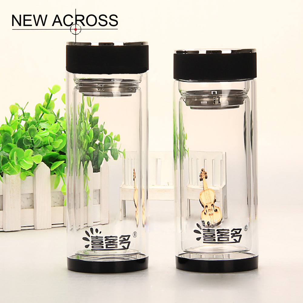 JUH 1Pcs Double-Layer Crystal Glass Tea Bottle 350Ml Office Drinking Bottle With Tea Isolation Gift Bottle