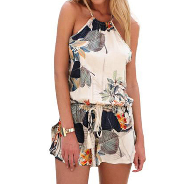 fa7249eafe1 Women s elegant sexy backless floral print jumpsuits short pants halter  neck Sleeveless Rompers Playsuit casual Plus size YF412