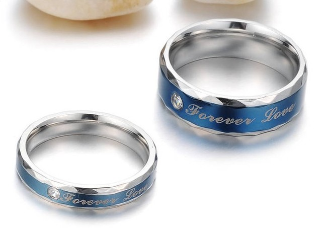 OPK JEWELRY Gift Box Engagement gift Packing NEW STYLE Titanium steel ring (blue is for male grey is for famale)