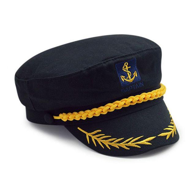 Negro Unisex Barco Marinero capitán traje sombrero Marina Almirante marino  sombrero d77024435a1