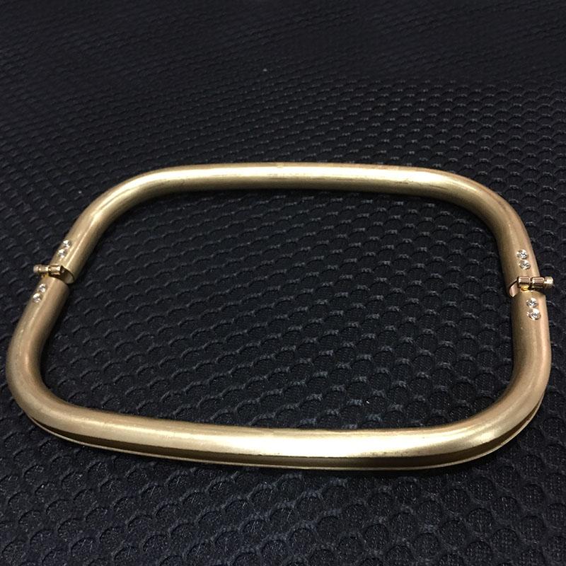 2Pcs Cooper Rectangle Metal Frame Clutch Fashion Handbag Purse Bag Handle Part Accessories