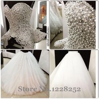 7aebc1f07 Two Pieces Ball Wedding Dresses Luxury Wedding Gown With Rhinestones Royal  Princess Gowns With Pearls Crystals
