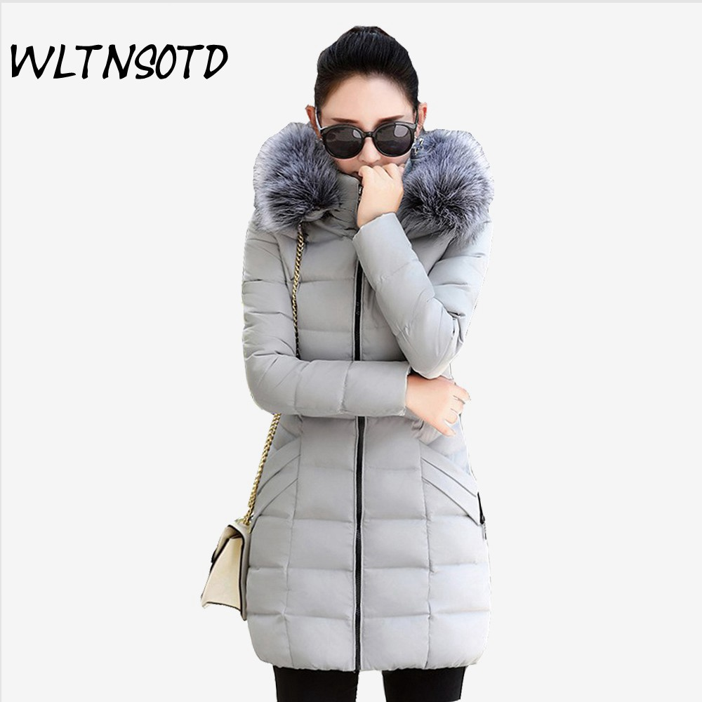 2017 Winter new cotton coat women Slim long Hooded Big Fur collar jacket Female Solid overdress thick warm Parkas 2017 new women winter coat long quilted jacket thick warm solid color cotton parkas female slim hooded zipper outwear okb88