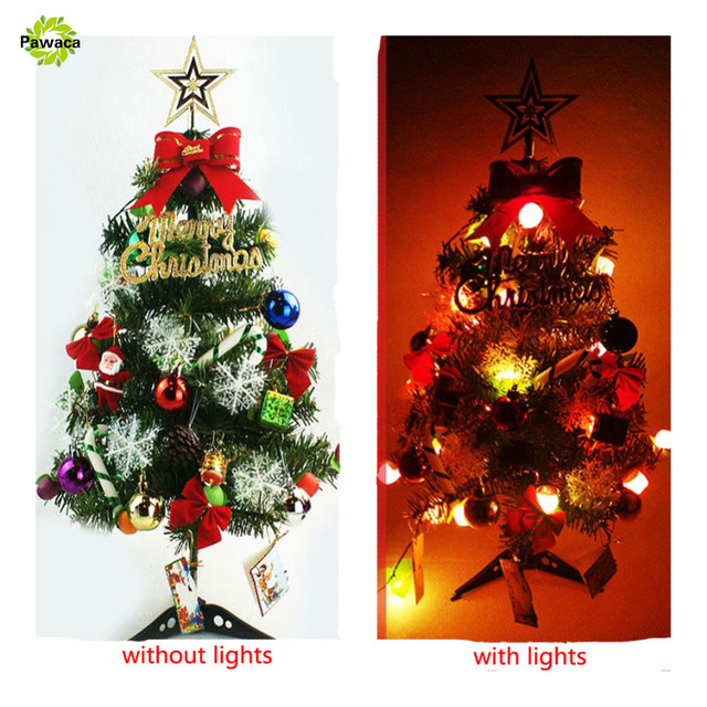 artificial christmas tree ornaments home decoration diy new year 4560cm mini tree with led