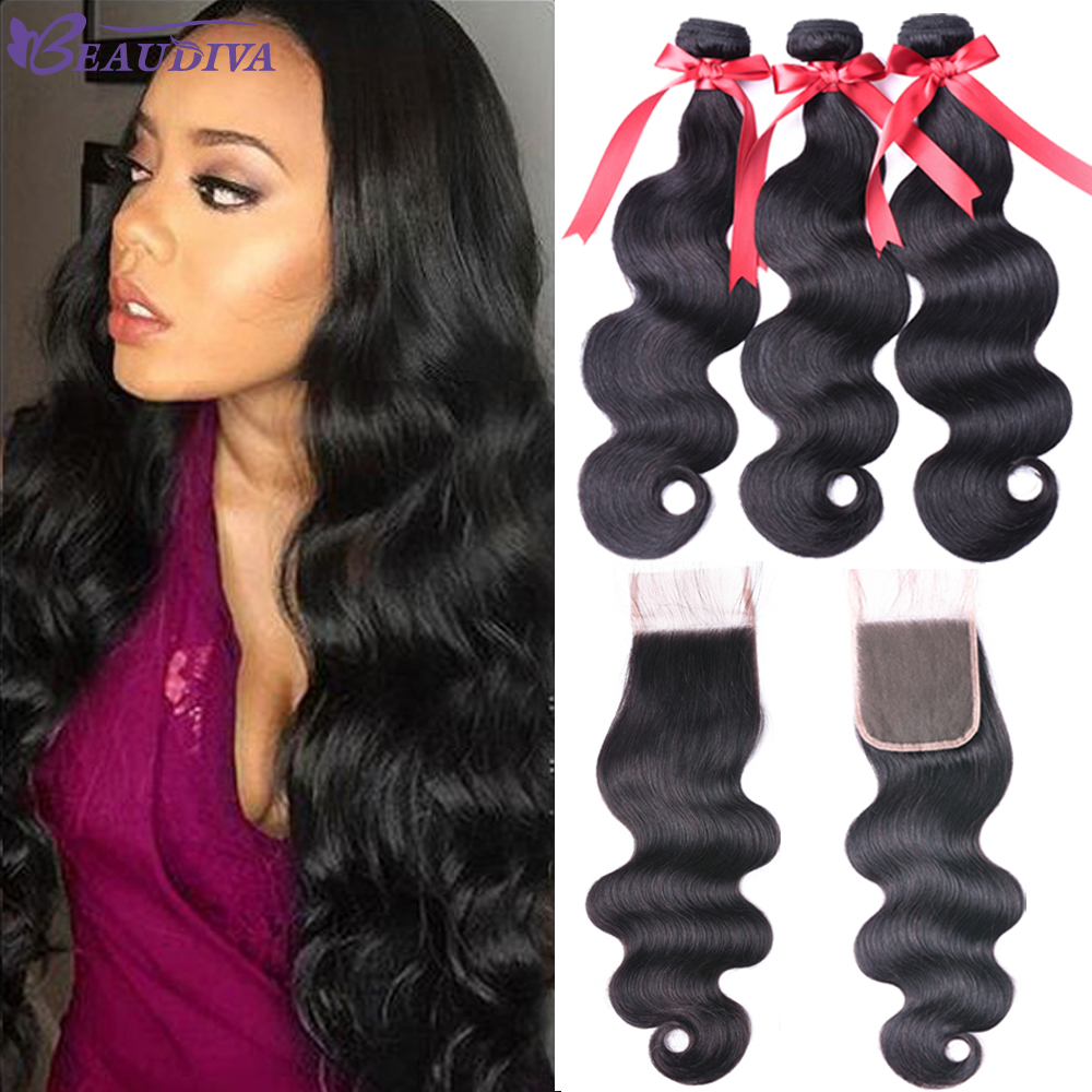Body Wave Bundles With Closure Brazilian Body Wave Human Hair Weave 2/3 Bundles With Closure Beaudiva Hair Bundles With Closure