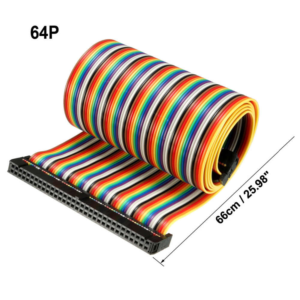 Uxcell 1 sztuk 16/34/64 szpilki 48/66/118 cm długość 2.54mm Rainbow elastyczna wstążka kabel jumper z nagłówka złącze do PCB