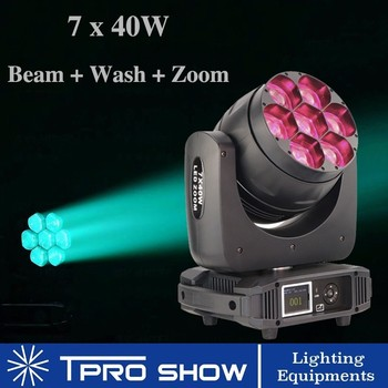 Bee ตา Lyre LED 7x40 W Beam Wash ซูม 3in1 Movinghead อุปกรณ์ DJ Stage Lighting Effect สำหรับ Disco Party Club Dmx512