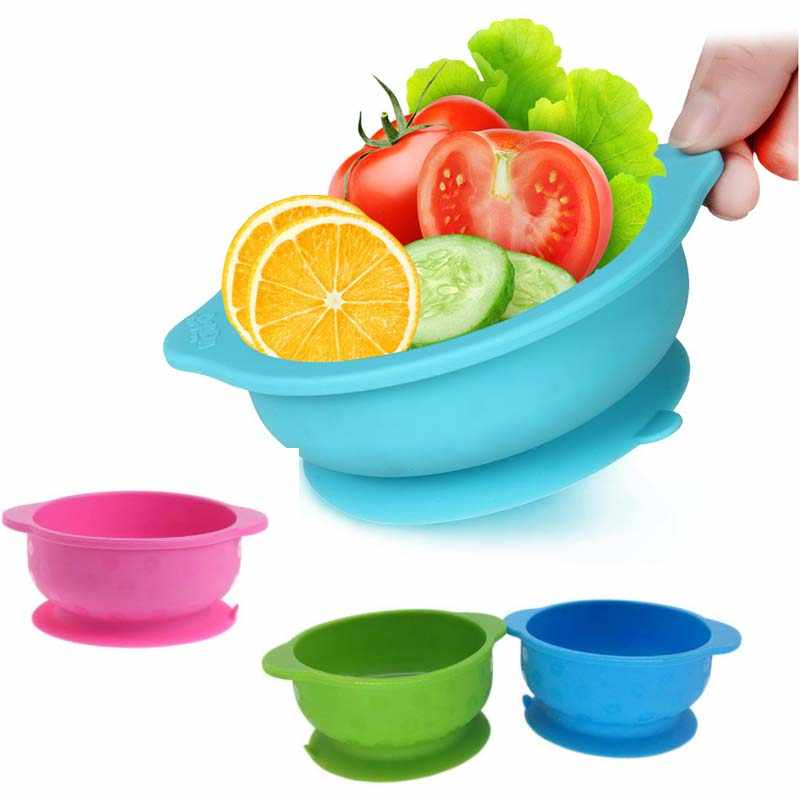 Anak-anak Plate Peralatan Makan Bayi Bayi Pengisap Bowl Makanan Ringan Hidangan Silikon Cangkir Anak Balita Mangkuk Makanan Camilan Wadah Penyimpanan