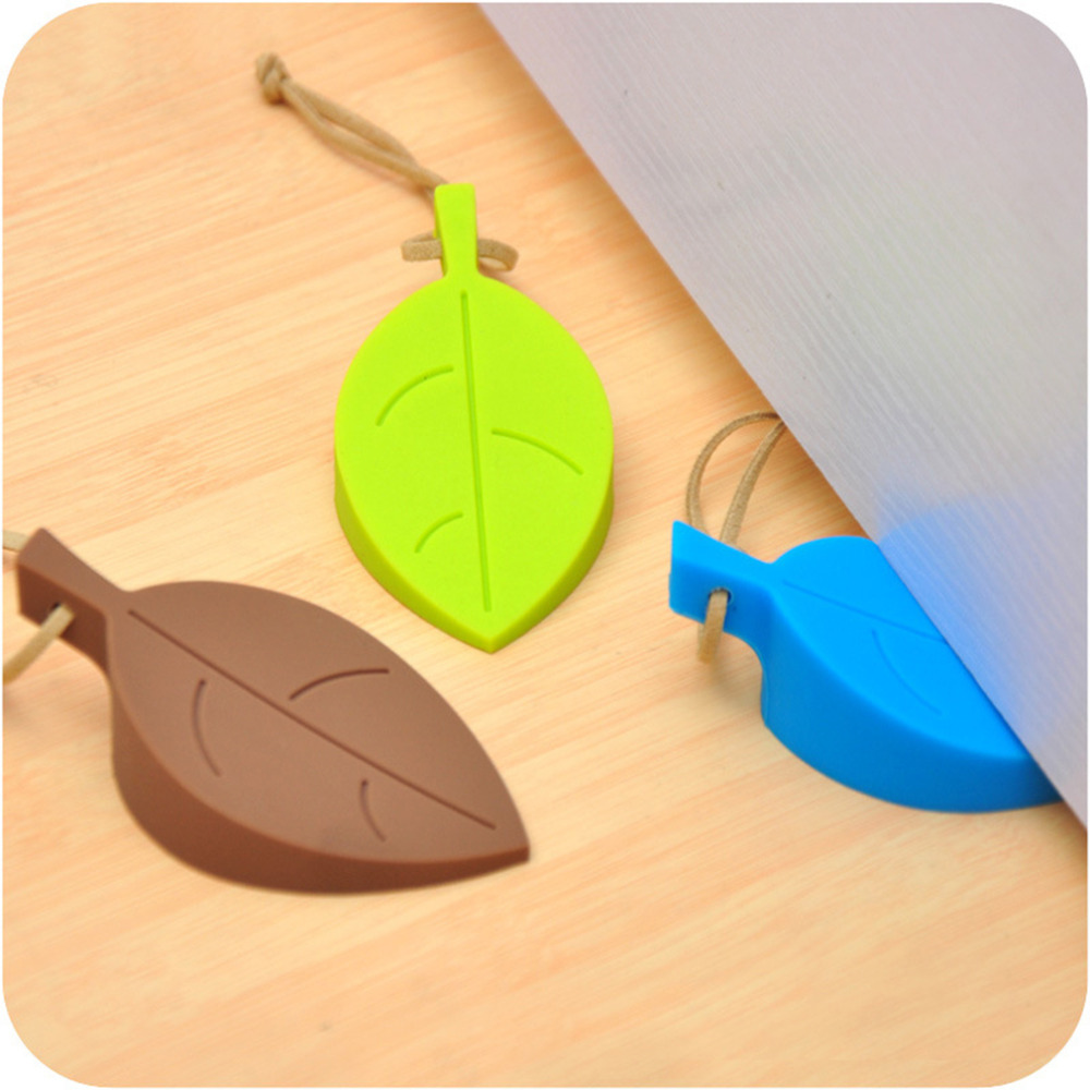 convenient silicone silicone leaves decor design door stop stopper jammer guard baby safety home for children