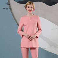 Free Shipping Working Clothing 2018 Long Sleeve Peach Pink Top+Pants Hospital Nurse Uniform Beautician White SPA Overalls