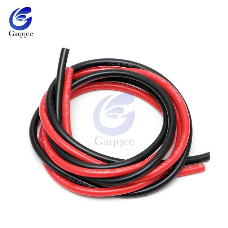 2 м 1 метр Черный + 1 метр красные силиконовые провода 10AWG 12AWG 14AWG 16AWG термостойкий мягкий силиконовый силикагель провод кабель