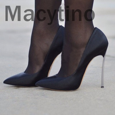 argent Femmes Chaussures Talons Pointu Office Macytino Partie Bout Mince Talon Sexy gris De Lady Noir Cuir Hauts En Noir Suédé 1waHBqF