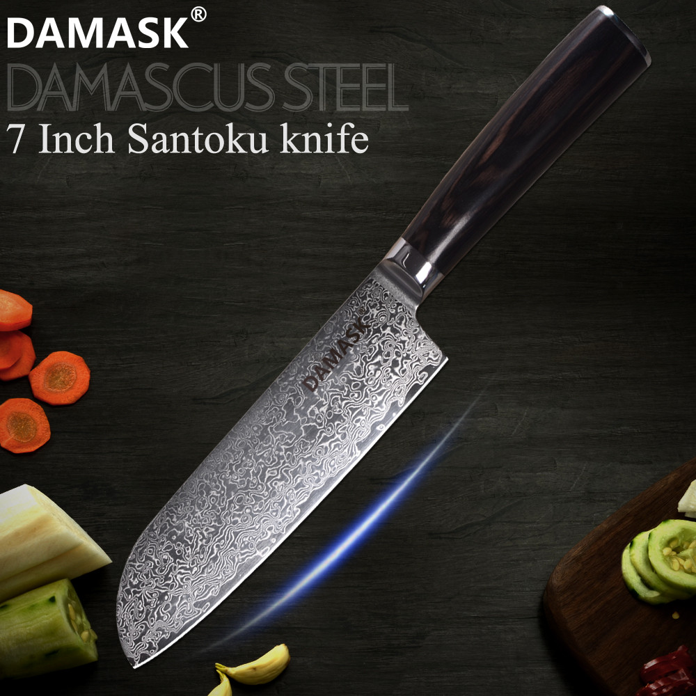 DAMASK 67 Layer Damascus Kitchen Knife 7 inch Blade VG10 Damascus Core Santoku Knife Japan Santoku Knives Pakka Wood Handle