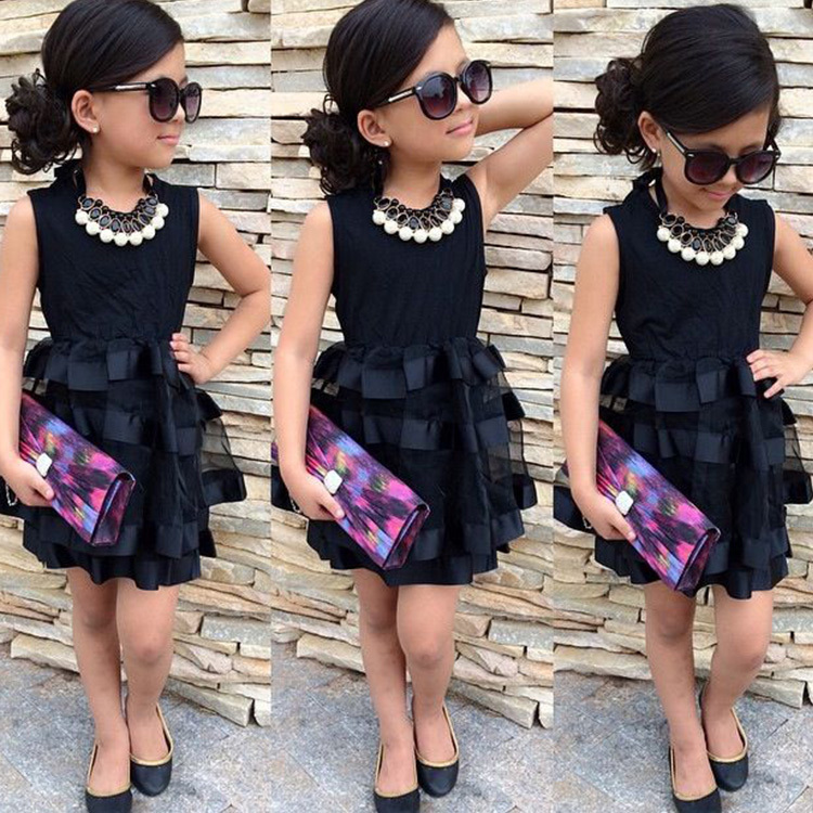Clothing Tutu-Dress Layered Girl Black Little Children's Vestido title=